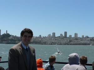 Tom on the boat to Alcatraz.