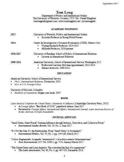 Sept 2017 Cv U2026  Academic Cv